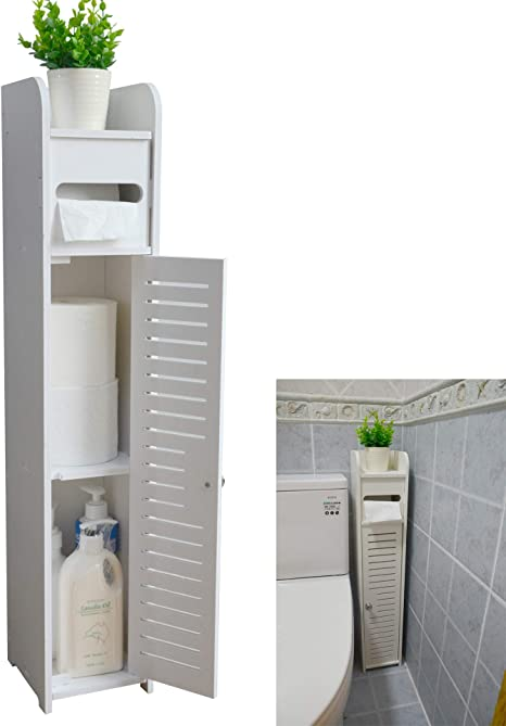Amazon Com Small Bathroom Storage Corner Floor Cabinet With Doors And Shelves Thin Toilet Vanity Narrow Bath Sink Organizer Towel Shelf For Paper Holder White By Aojezor Home Kitchen