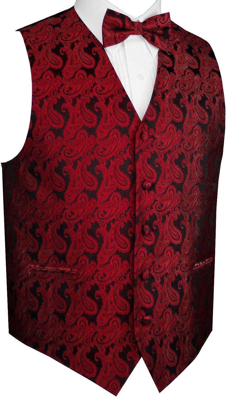 Brand Q Men's Formal, Wedding, Prom, Tuxedo Vest & Bow-Tie Set in Apple Paisley