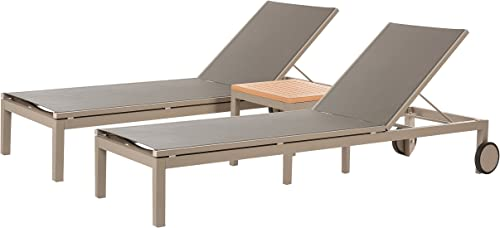 W Unlimited Oharie Collection Outdoor Garden Patio Furniture 3PC Chaise Lounge Chair Set w/Table