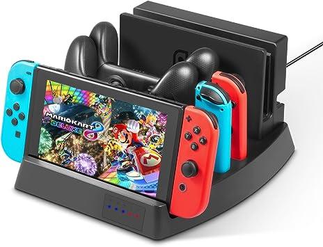 Soporte de carga para Nintendo Switch – Younik base de carga vertical con indicadores LED y cable USB del tipo C para la consola Nintendo Switch, controles Joy-Con y el control Pro:
