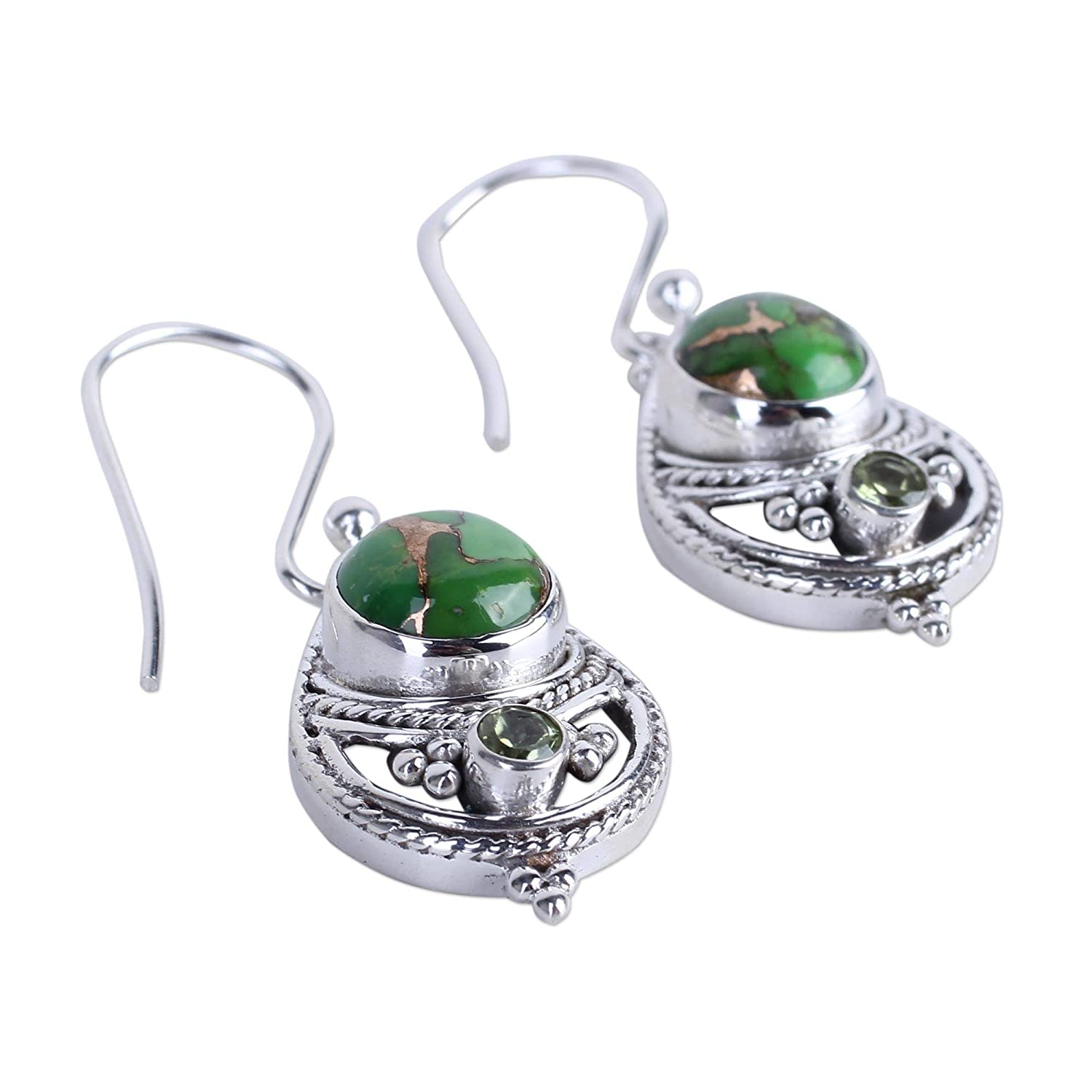 NOVICA Peridot Green Reconstituted Turquoise .925 Sterling Silver Dangle Earrings Green Elegance