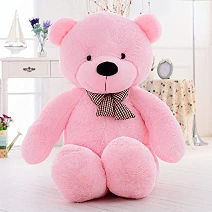 Frantic Premium Quality Soft Huggable Teddy Bear Plush Stuffed Toy with Neck Bow (Baby Pink,6 Ft)