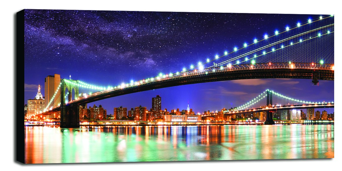 Engardo 40CSK8 Canvas Lights in New York, Multicolore, 100x2x10 cm