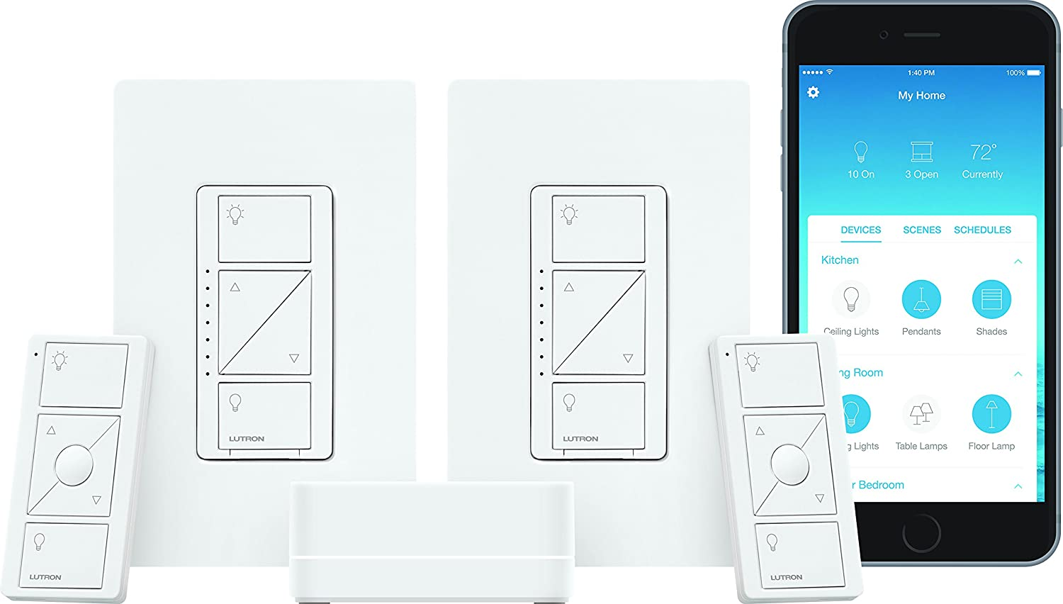 Lutron Caseta Wireless Smart Lighting 2 Dimmer Switch Starter Kit P Wiring A 3 Way With Power At Fixture Bdg Pkg2w Works Alexa Apple Homekit And The Google Assistant