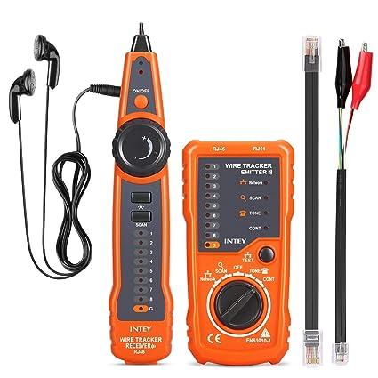 INTEY - Comprobador De Cables Con La Luz Tester De Cable RJ45 RJ11 Probador De Tensión