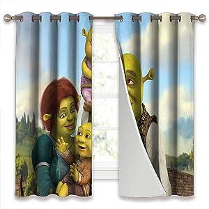 Short Curtains Shrek The Halls Fiona and Shrek'S Kids Creative Blackout Window Drape W42 x L45 Inch