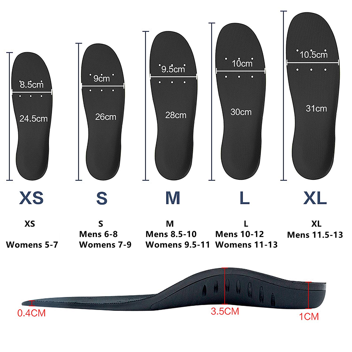 Hyperspace Sports Insole for Gel High Arch Support Shoe Inserts Plantar Fasciitis Orthotic Inserts Maximum Comfort and Shock Absorption for Flat Feet and Injury Prevention (Black XL) by Hyperspace (Image #8)