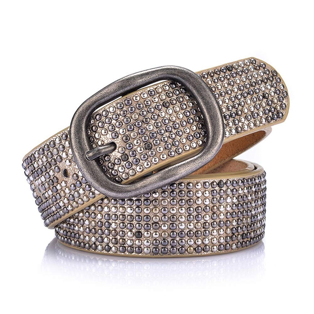gold Women's Leather Belt Alloy Pin Buckle Metal Studded Inlay Belt Belt for Pants Jeans Dresses.