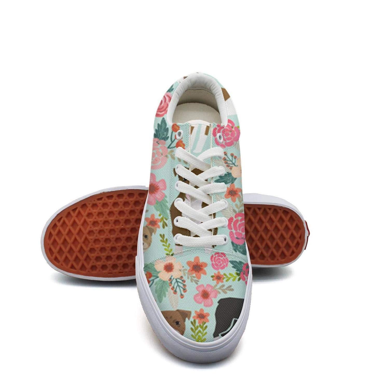 Ouxioaz Womens Tennis Shoe Laces Pitbull Terriers Dog Florals Old Skool Skate Shoes