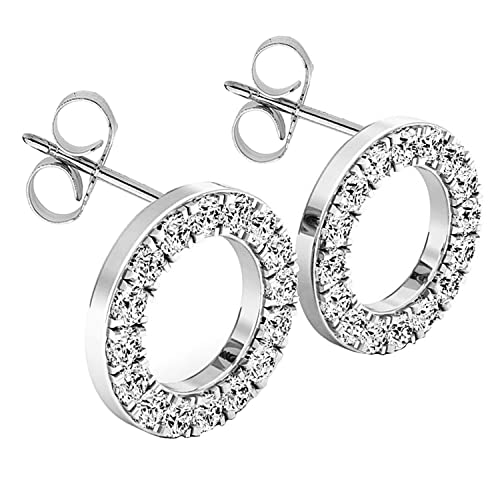 Dazzlingrock Collection 10K Round White Diamond Ladies Circle Shape Fashion Stud Earrings 1 10 CT, White Gold
