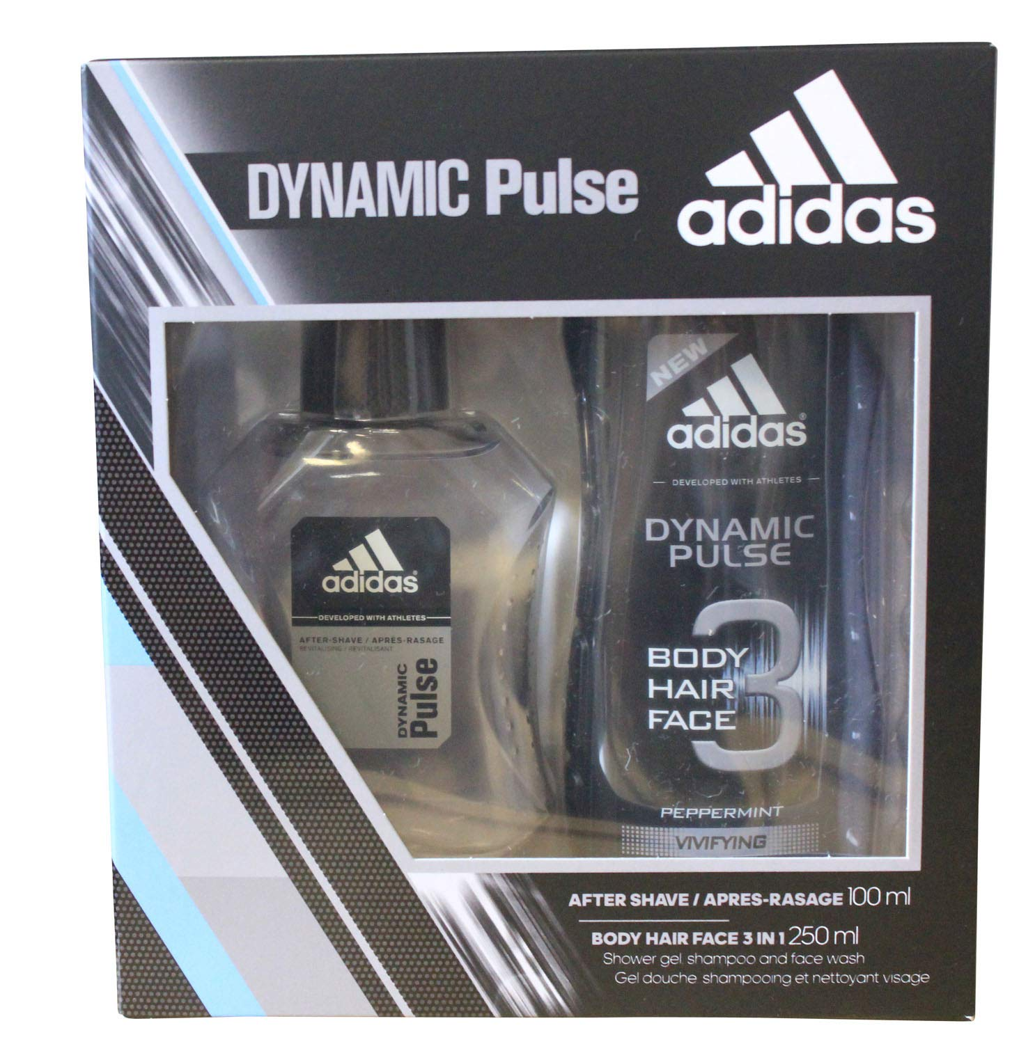 Adidas Dynamic Pulse 100ml After Shave and 250ml Body Hair Face Wash Men's Gift Set
