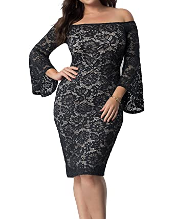 Womens Plus Size Empire Waist Lace Off The Shoulder Bell Sleeves
