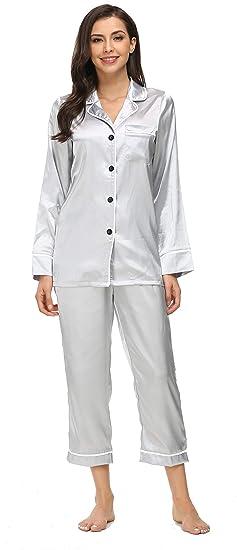 7a2208055 Kiddom Womens Classic Silk Satin Sleepwear Girls Pajamas Set Ladies  Loungewear Collar Pockets Long Sleeve at Amazon Women's Clothing store: