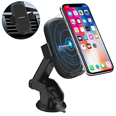 Amabana Wireless Car Charger Mount, 10W Qi Fast Car Charging Auto-Clamping Phone Holder, Dashboard Air Vent Car Mount Compatible iPhone 11 11 Pro Max Xs MAX XS XR X 8 8 ,Samsung S10 S10 S9 S9 S8 S8