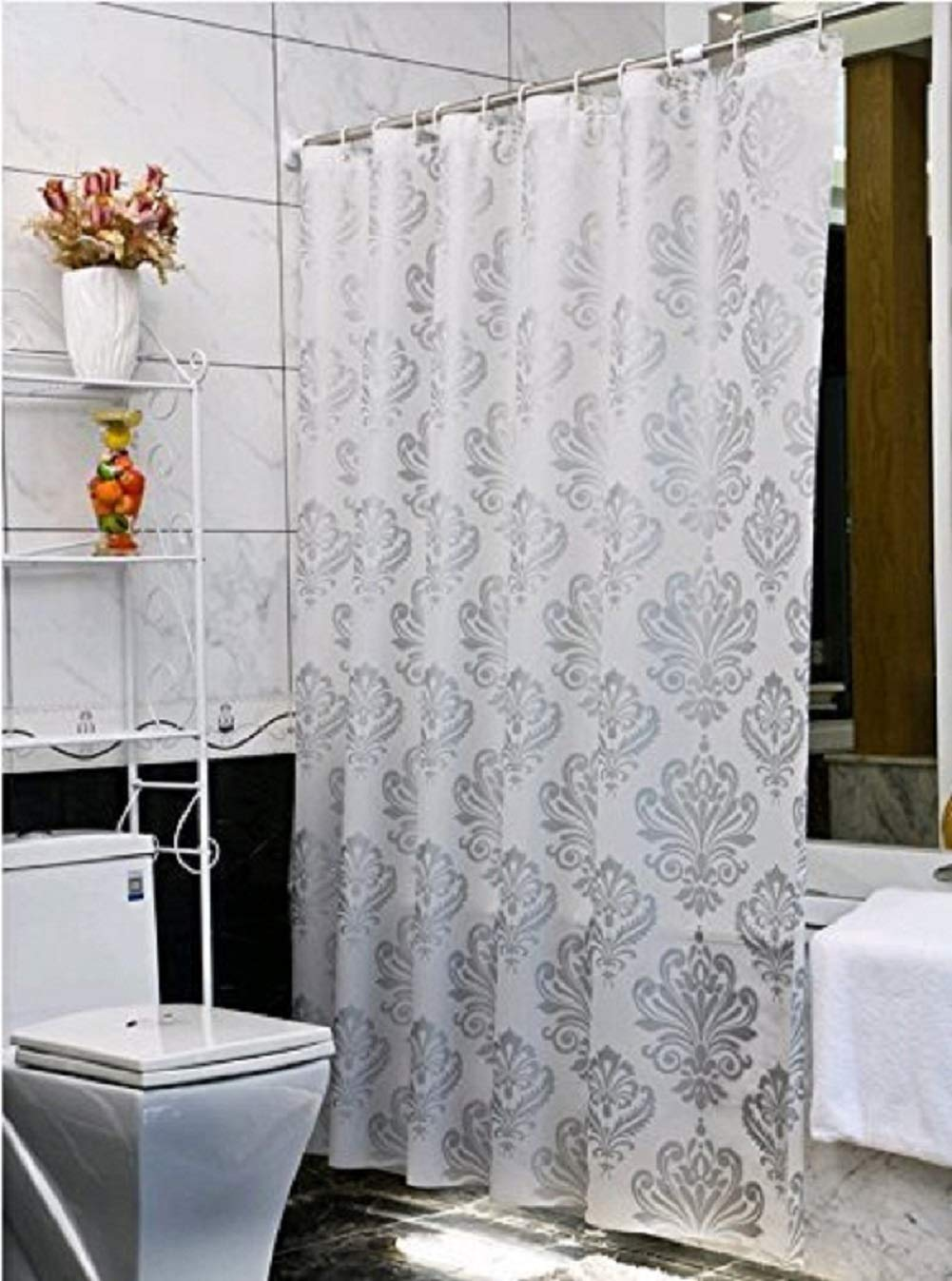 Uforme 36 Inch by 72 Inch Environmentally PEVA Shower Curtain Mildew Resistant and Waterproof PVC-free Bath Liner with Curtain Rings for Bath, Washable, Silver Grey Ufatansy European/Sliver Grey3672