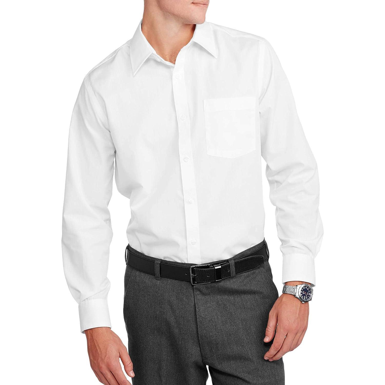 George Mens Slim Fit Long Sleeve Solid Poplin Dress Shirt White