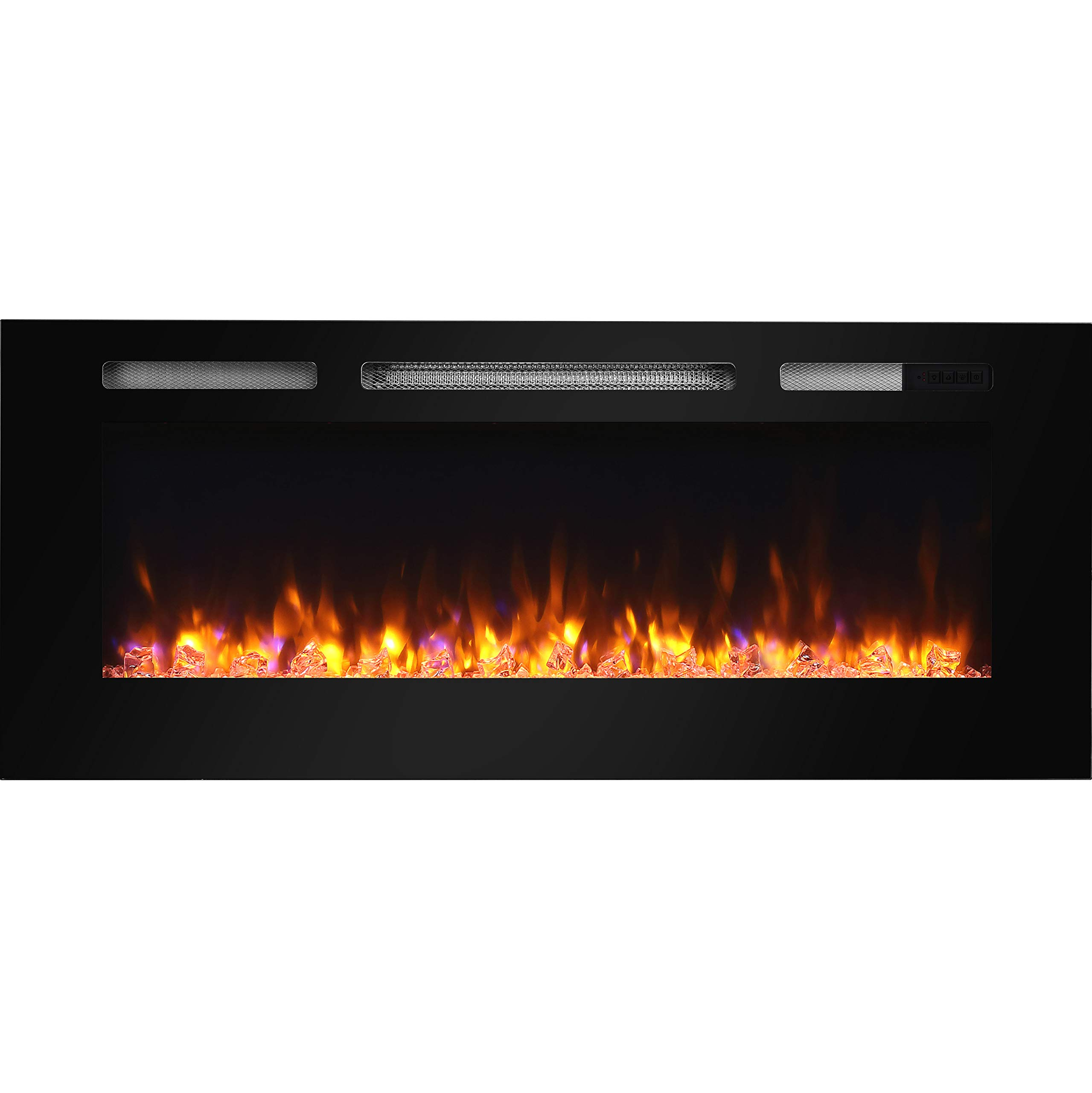 "Hawnby Recessed Electric Fire E141R 220/240Vac, 1&2kW, Log Set & Crystal, 7 Day Programmable Remote Control (48"")"