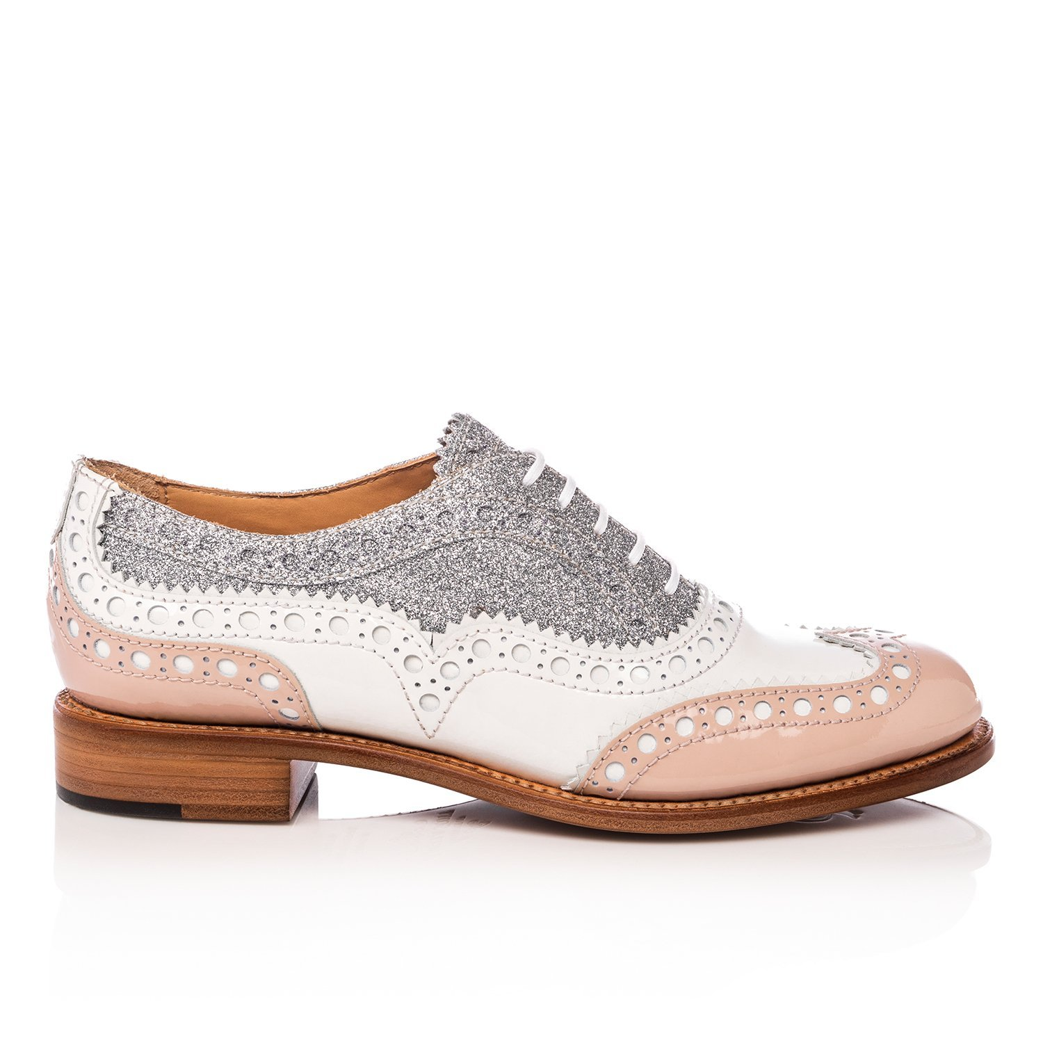 The Office Of Angela Scott Mr. Doubt Nude White & Silver Brogue Oxford by The Office Of Angela Scott
