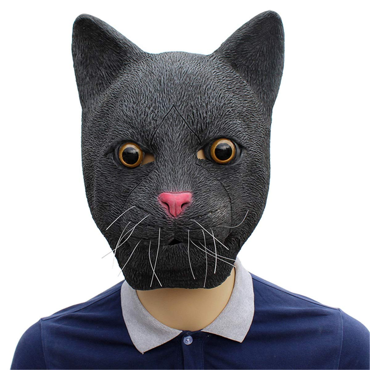 Novelty Halloween Costume Mask Cosplay Party Props Latex Animal Head Mask Adult & Kids Black Cat George Bogle