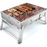 UTTORA Barbecue Grill, Charcoal Grill Portable Folding BBQ Grill Barbecue Desk Tabletop Outdoor Stainless Steel Smoker BBQ fo