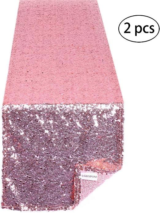 Despedidas de Soltera Baby Shower Suministros de Fiesta cumplea/ños Camino de Mesa con Lentejuelas de Oro Rosa de 12 x 108 Pulgadas con Purpurina y Oro Rosa para Bodas