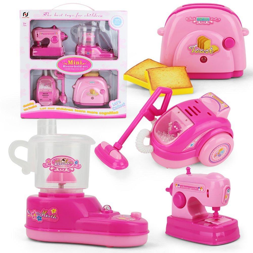 WoBoSen Sortierte Kids Küchengerät Spielzeug mit Entsafter, Nähmaschine, Toaster, Staubsauger, Spielzeug Küchen Sets mit Licht und Ton für Mädchen Jungen (Rosa) Nähmaschine