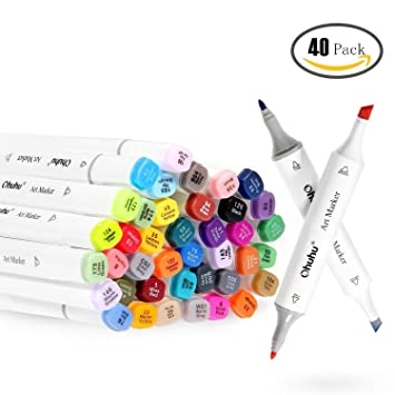 Ohuhu 40 Colors Dual Tips Permanent Marker Pens Art Markers for Kids, Highlighter  Pen with