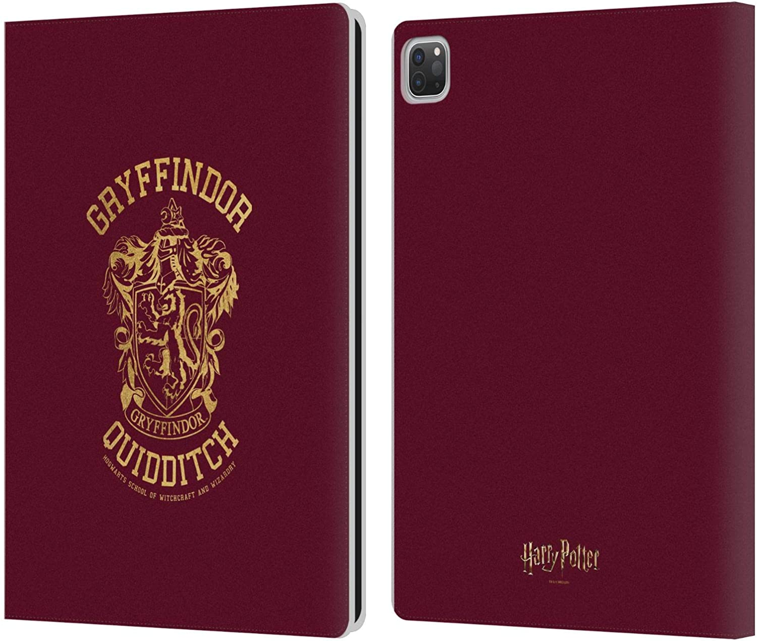 Head Case Designs Officially Licensed Harry Potter Gryffindor Quidditch Deathly Hallows X Leather Book Wallet Case Cover Compatible with Apple iPad Pro 12.9 (2020/2021)