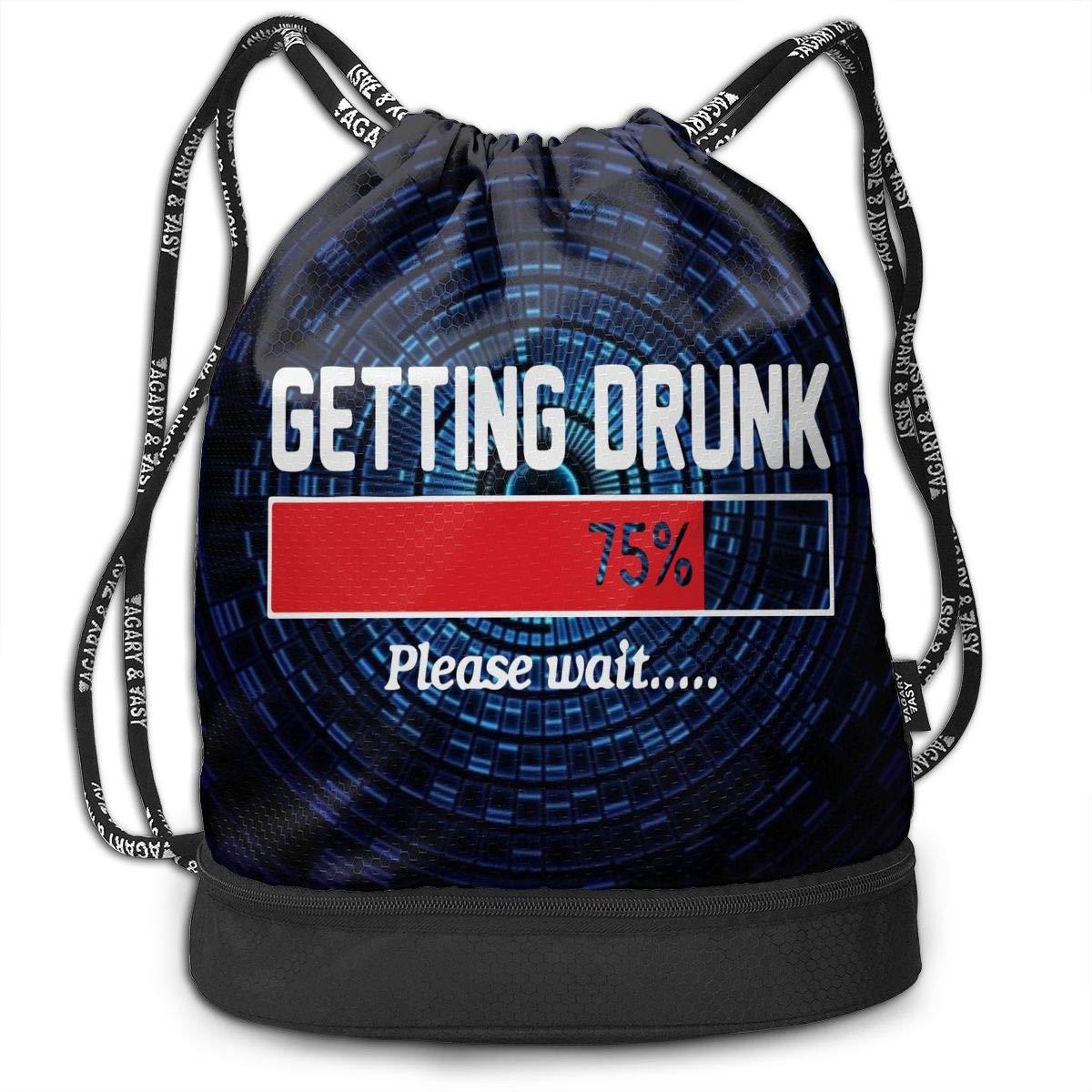 Getting Drunk Men /& Women Drawstring Pack Beam Mouth Sports Sackpack Shoulder Bags