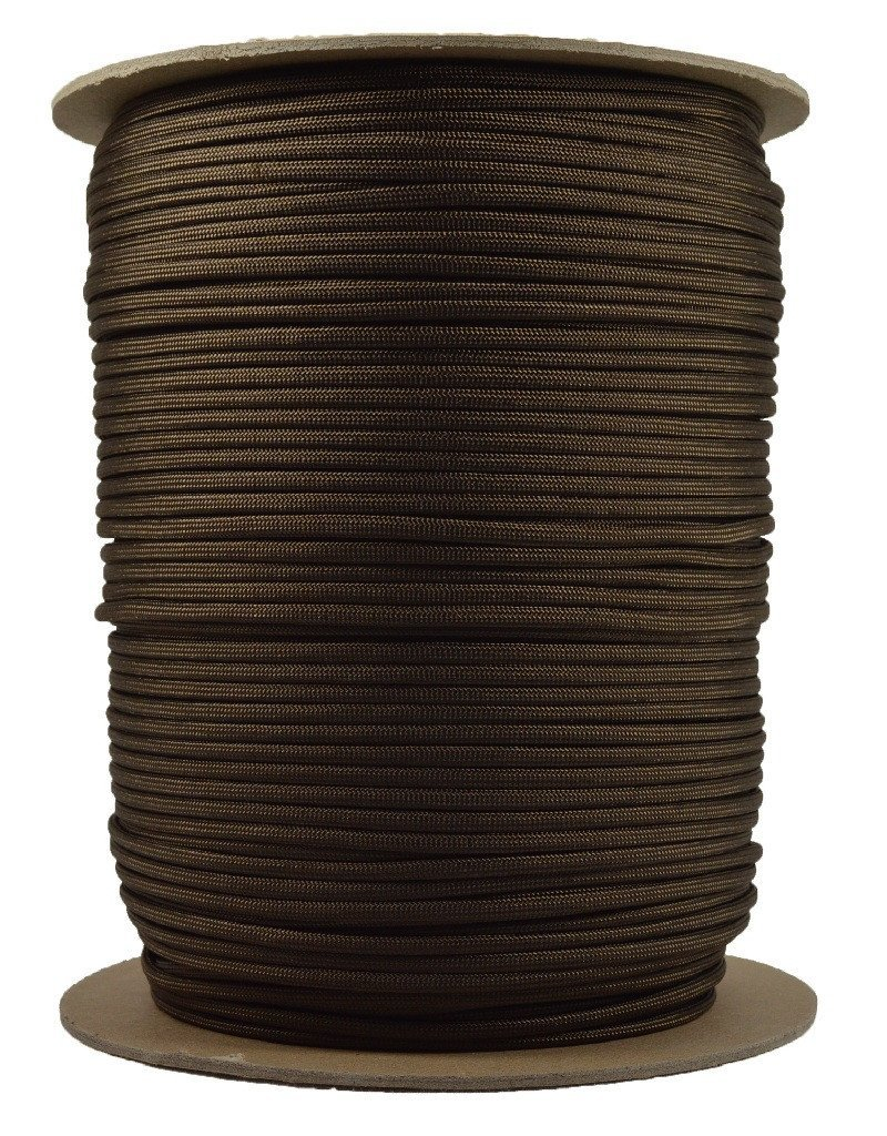 Solid Colors Paracord - Type III Parachute Cord - Acid Brown - 1000 Foot Spool by BoredParacord (Image #1)