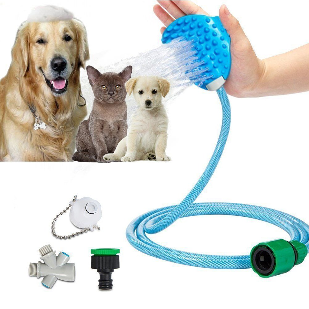Pet Bathing Tools, Shower Sprayer For Dogs Cats, Upgraded Massage Scrubber with GroomingBrush, 3 Faucet Adapters & 8 ft Hose Included for Bath Tub & Garden Using