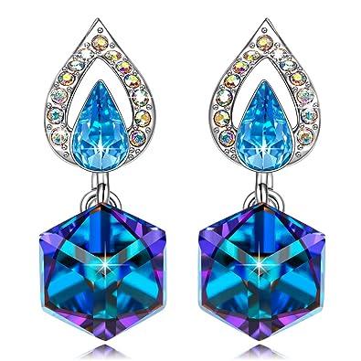 832c4d22b Kate Lynn Happy Cube Dangle Drop Piecered Earrings Women Ladies Blue  Crystals Swarovski Statement Jewellery Gifts Gift Ideas Her: Amazon.co.uk:  Jewellery
