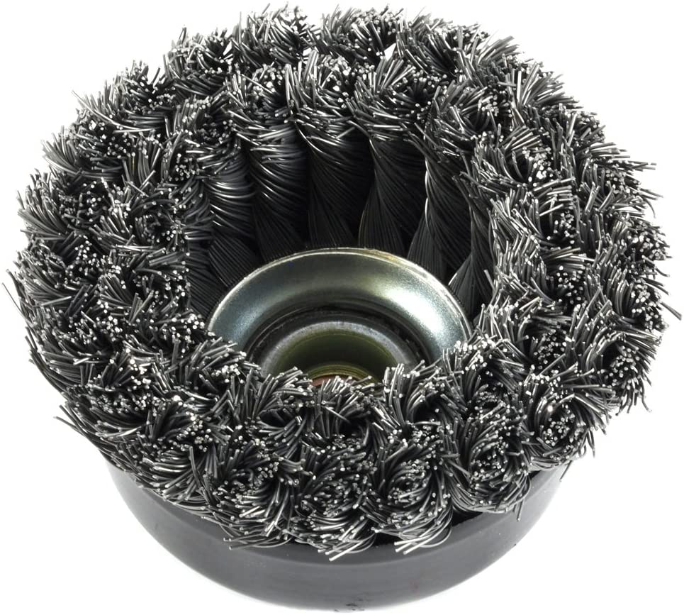 Double Row Forney 72868 Wire Cup Brush Industrial Pro 4 x .020 Wire with 5//8-11 Arbor Twisted//Knotted Wire