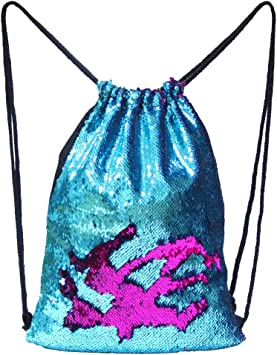 Blue and Purple Basumee Flip Sequin Backpack Reversible Sequin Drawstring Bag Mermaid Sequin Dance Bag for Outdoor Sports