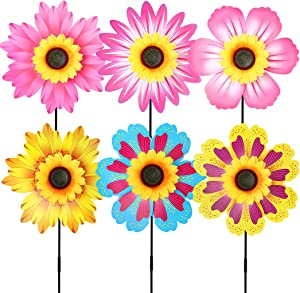 B bangcool 14 Inches Sunflower Garden Pinwheels Spinner, Lawn Wind Spinners Flowers Garden Party Pinwheel for Patio Lawn & Garden (6PCS)