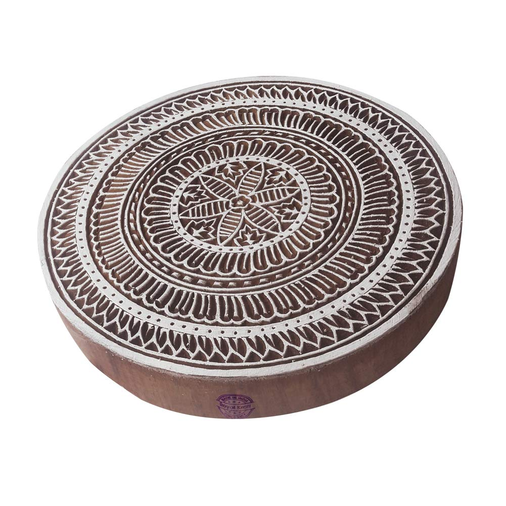 8 Inch Elegant Large Printing Stamp Flower Round Shape Big Wooden Block