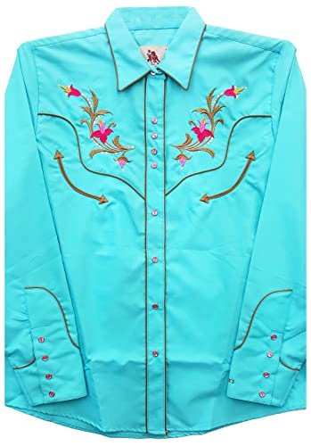Modestone Women'S Embroidered Long Sleeved Fitted Western Camisa Vaquera Floral Horseshoe Blue
