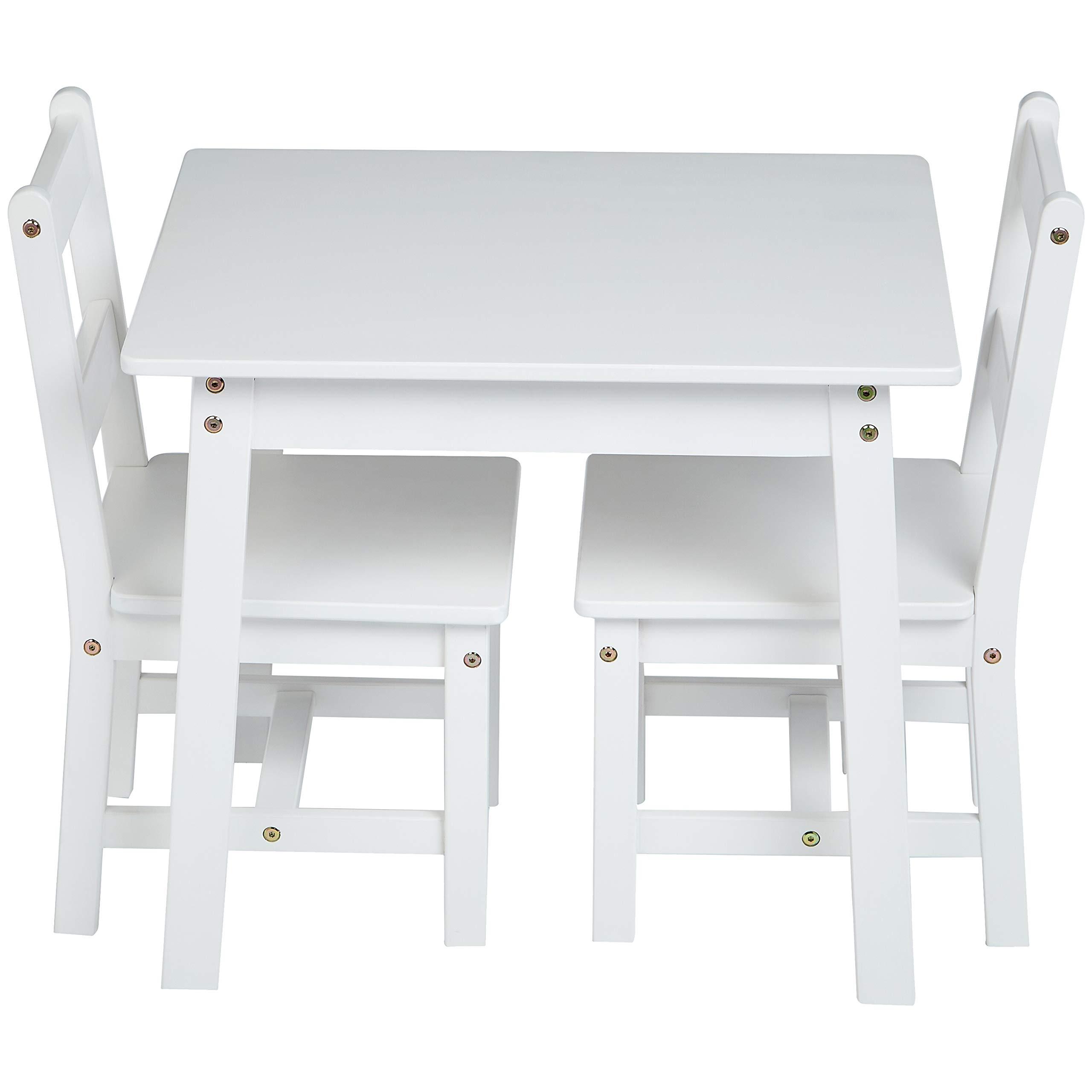 AmazonBasics Kids Solid Wood Table and 2 Chair Set, White by AmazonBasics (Image #3)