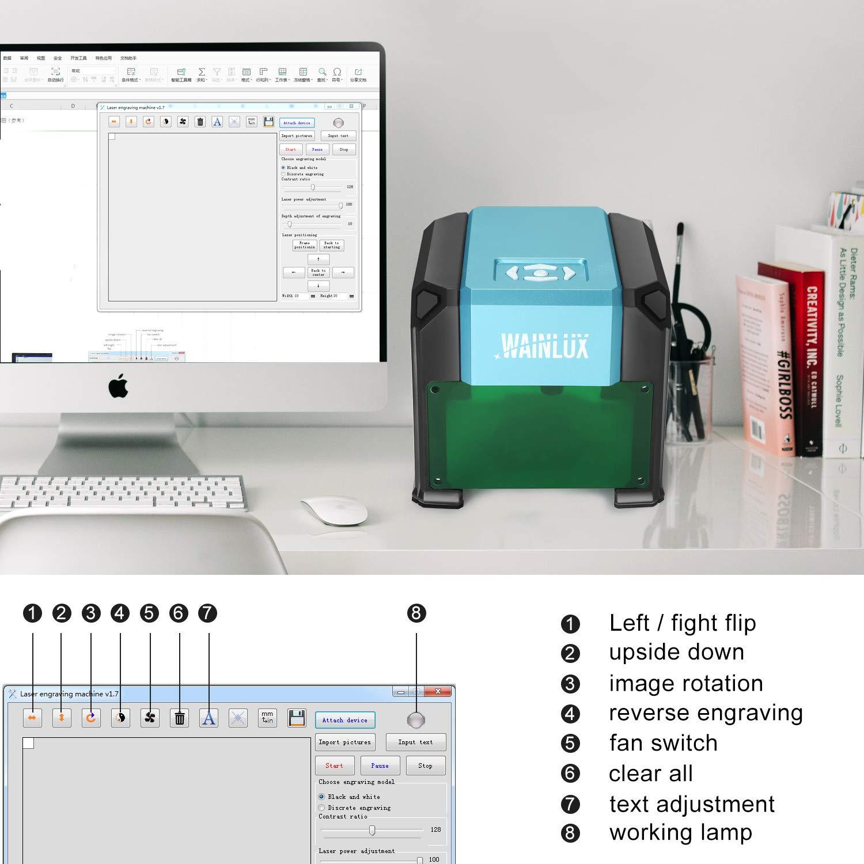 Laser Engraving Machine, 3000mW Mini Desktop Laser Printer Engraver Machine Working Area 80X80mm for DIY Logo(3000mW) by WAINLUX (Image #4)