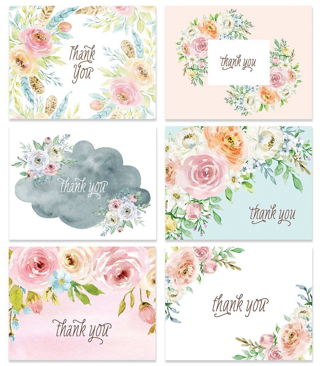 24 Thank You Greeting Cards Assorted Pastel Floral 6 Designs Any Occasion Wedding Baby Bridal Shower Anniversary Folded Notecards & Envelopes Blank Inside Personal Stationery Excellent Value VTA0006B