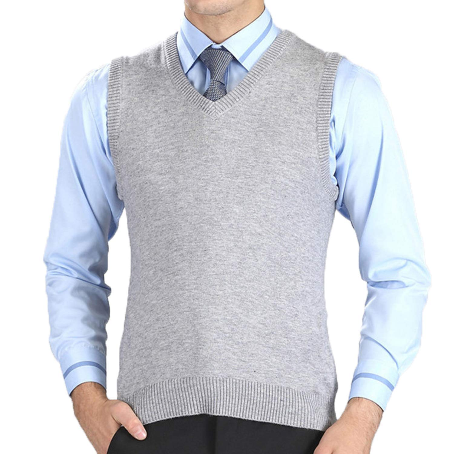Robert Reyna Fashion Mens Vest Sweaters Casual Style Wool Knitted Business Men Sleeveless Vest Brown Gray Black