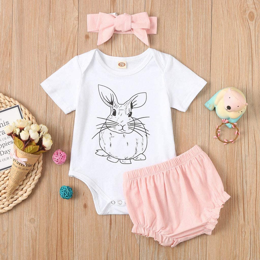Voberry Newborn Baby Girl Easter Clothes Rabbit Bodysuit Romper+Shorts+Headbands Set