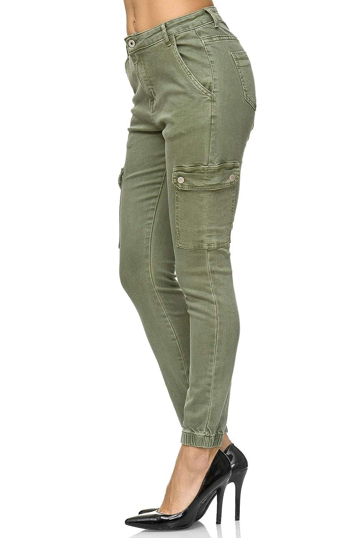 Jeans Denim Vaqueros con Bolsillos Laterales Chunkyrayan Elara Pantalones de Carga Slim Fit de para Mujer