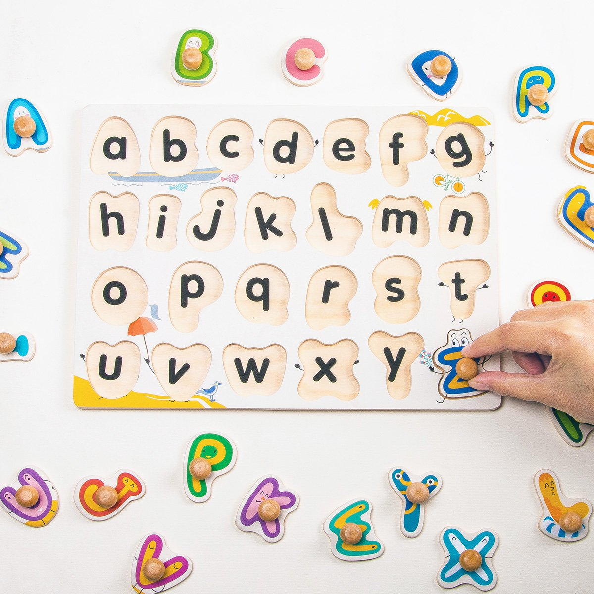 Robotime Classic Wooden Peg Puzzle Alphabet With Colorful Letters Knob Abc Learning Tools For 1 Year Old