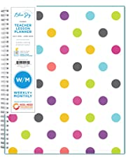 """Blue Sky 2019-2020 Academic Year Teachers Weekly & Monthly Lesson Planner, Flexible Cover, Twin-Wire Binding, 8.5"""" x 11"""", Dots"""
