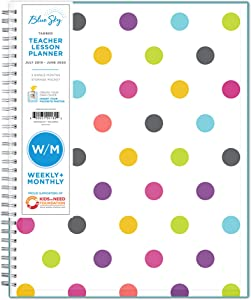 "Blue Sky 2019-2020 Academic Year Teachers Weekly & Monthly Lesson Planner, Flexible Cover, Twin-Wire Binding, 8.5"" x 11"", Dots"