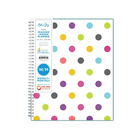 Blue Sky 2019-2020 Academic Year Teachers Weekly & Monthly Lesson Planner, Flexible Cover, Twin-Wire Binding, 8.5