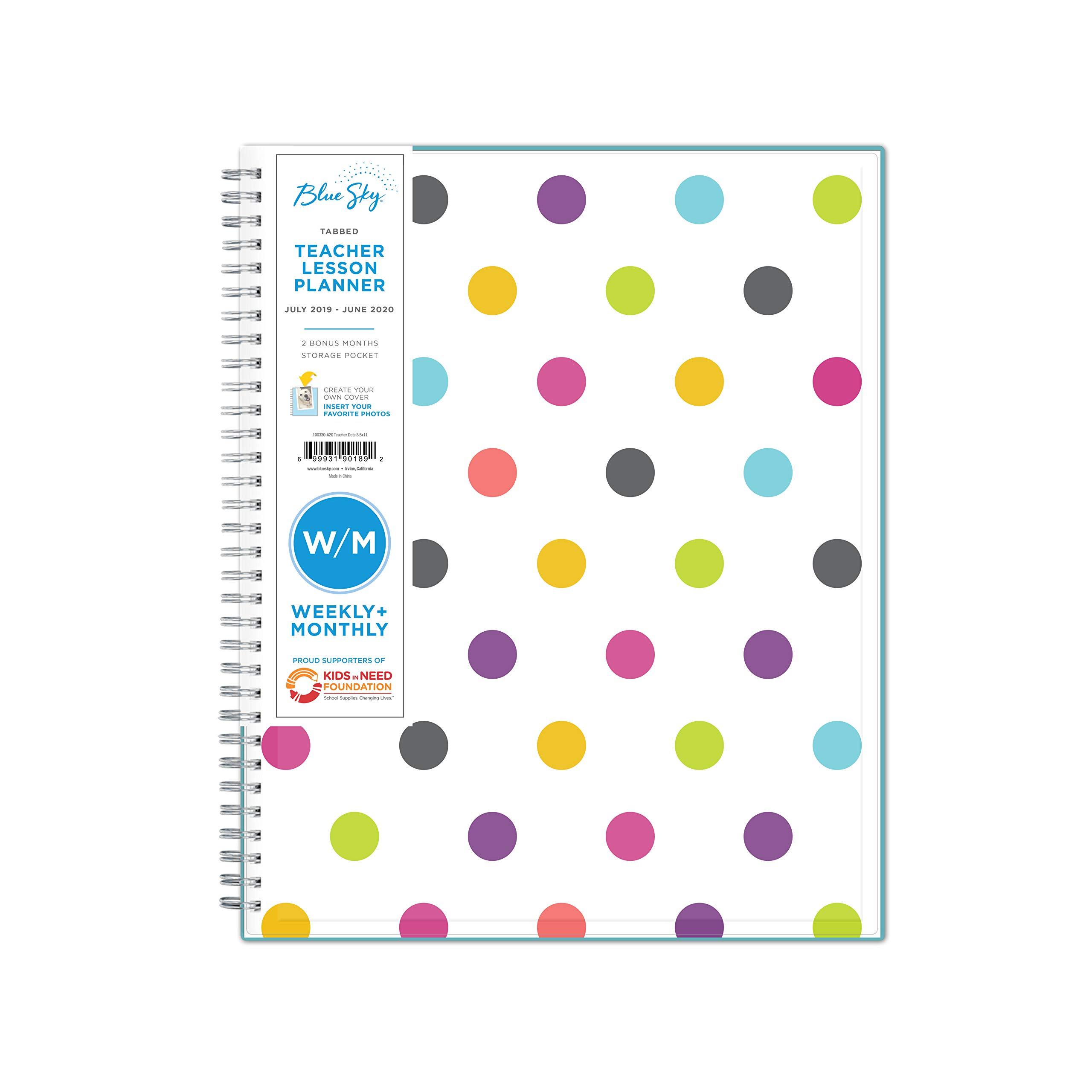 Blue Sky 2019-2020 Academic Year Teachers Weekly & Monthly Lesson Planner, Flexible Cover, Twin-Wire Binding, 8.5'' x 11'', Dots