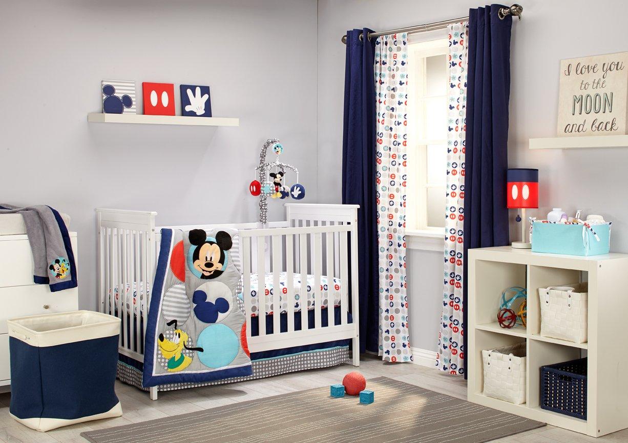 Disney Baby Mickey Mouse Best Buddies 4 Piece Nursery Crib Bedding Set, Multi