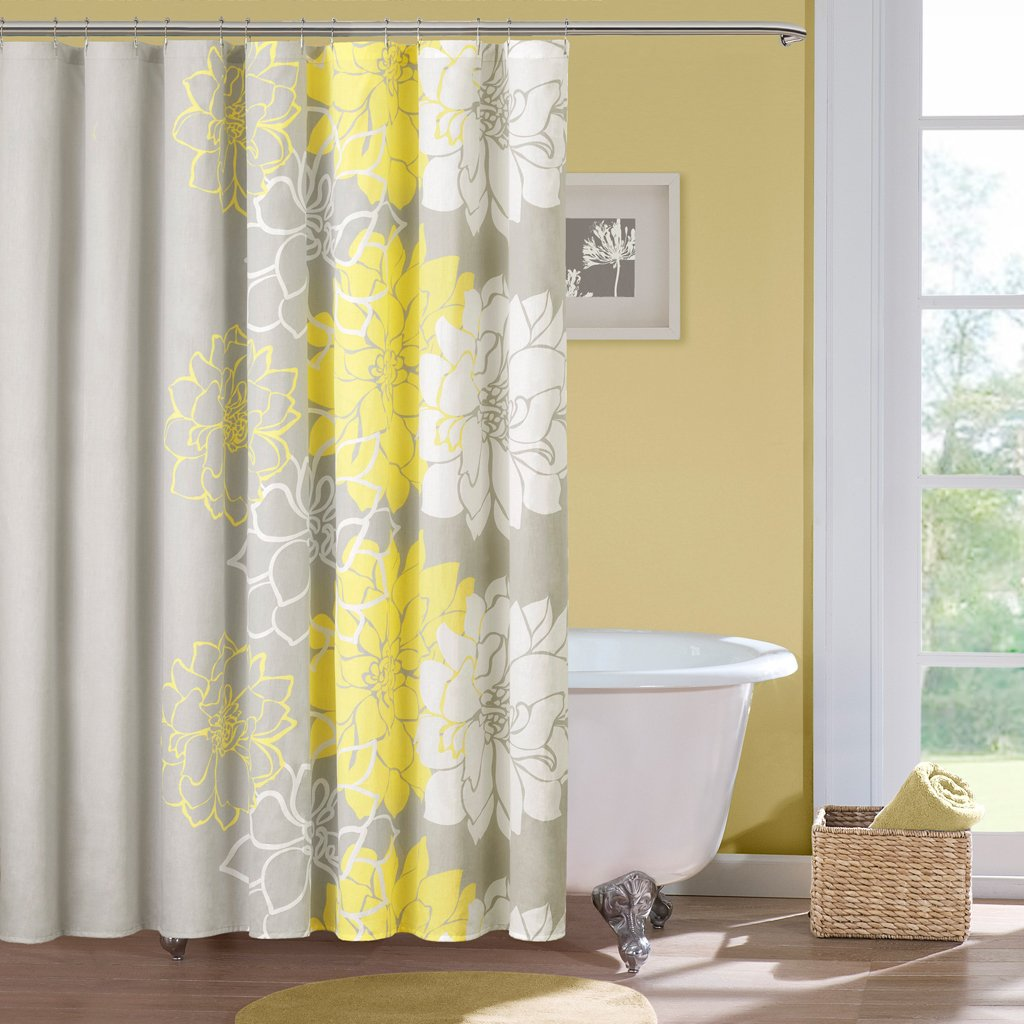 Amazon.com: Madison Park Lola Cotton Shower Curtain, Gray/Yellow: Home U0026  Kitchen